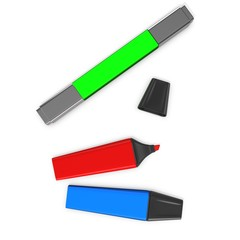 3d multi-colored markers, highlighter