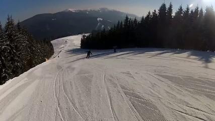 Going down the ski run in Bukovel, Ukraine