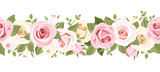 Fototapety Horizontal seamless background with pink roses. Vector.