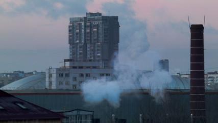 urban landscape with smoke