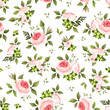 Seamless pattern with pink roses and green leaves. Vector.