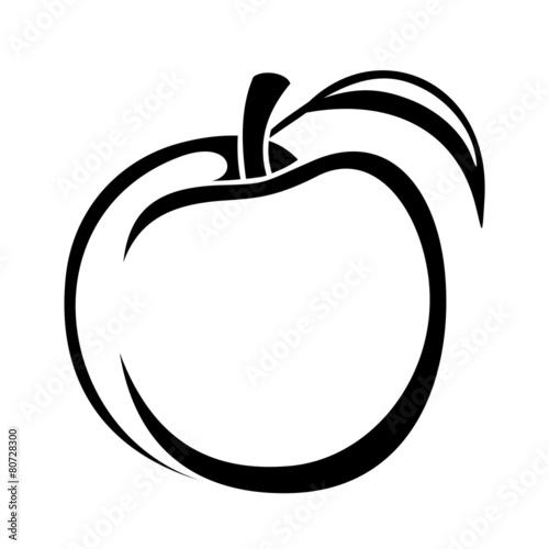 Peach. Vector black silhouette. - 80728300