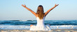 Woman meditating at the sea - 80728584