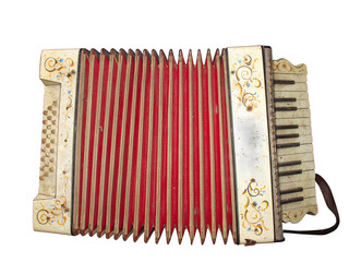 Old dirty accordion musical instrument isolated over white