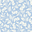 Vector seamless white floral pattern on a blue background.
