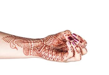 Mukula mudra with henna