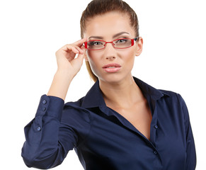 Isolated business woman in glasses