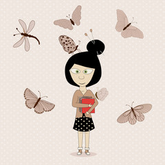Cute girl and butterflies