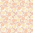 Seamless orange floral pattern. Vector illustration.