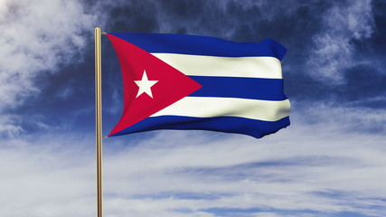 Cuba flag waving in the wind. Green screen, alpha matte