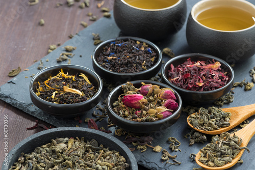 In de dag Thee assortment of fragrant dried teas and green tea, close-up