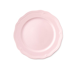 Empty Pink Porcelain Plate