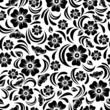 Seamless vintage black floral pattern. Vector illustration.