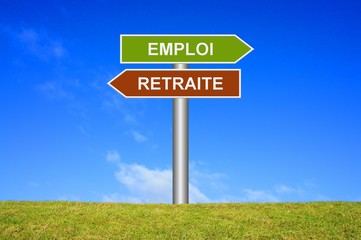 Schild Wegweiser: Arbeit oder Ruhestand auf französisch