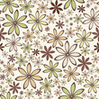 Seamless abstract pattern with beige and green flowers. Vector.