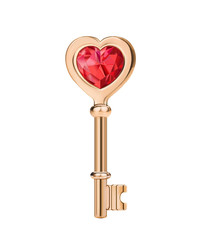Golden key with red heart