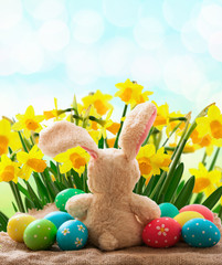 Easter eggs. Holiday background.