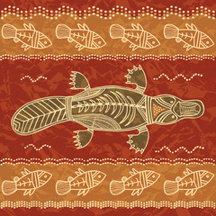 Platypus and fish tribal pattern
