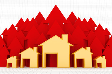 3d houses with red growing up graph.