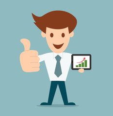 Business man cartoon character holding tablet pc vector illustra