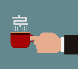 Vector illustration of hand holding a red cup of coffee concept