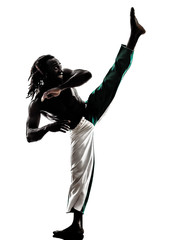 black man dancer dancing capoeira  silhouette