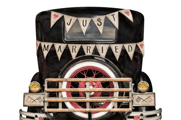 Vintage car with just married decoration