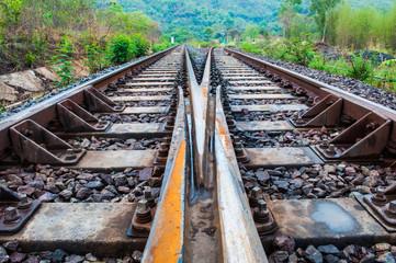 Railway in thailand, close-up detail tracks rail.