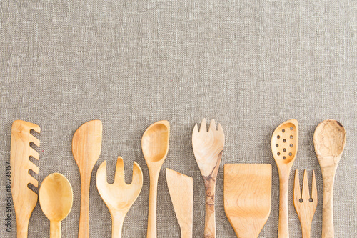Border of wooden kitchen necessities - 80735157