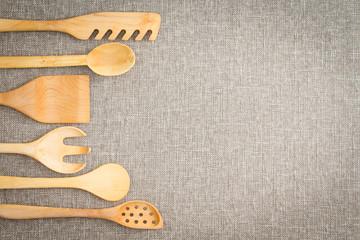 Wooden cooking utensils border