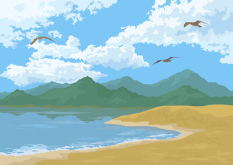 Sea Landscape with Mountains and Birds