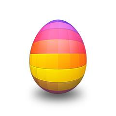 Uovo di pasqua arcobaleno su fondo bianco - 3D