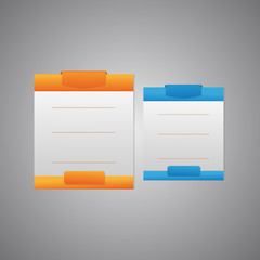 Grey Pricing Board With Orange And Blue Square On Top