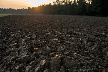Newly ploughed field in spring time during sunset