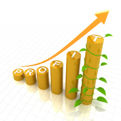 Profit growth chart with young plant, 3d render