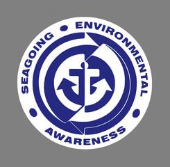 Blue Seagoing Environmental Awareness sign over grey