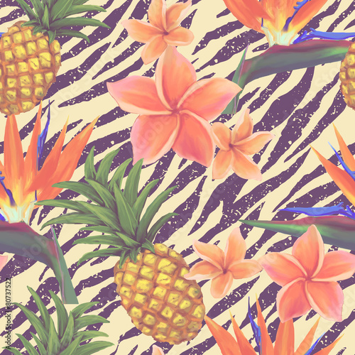 Tropical exotic flowers and pineapple seamless background in