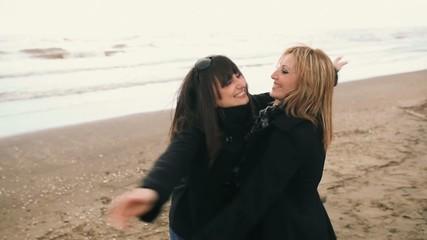 Two women having fun outdoors