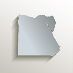 Egypt map white blue card paper 3D vector