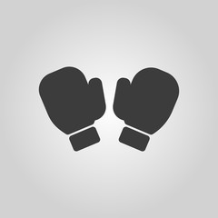 The boxing gloves icon. Game symbol. Flat