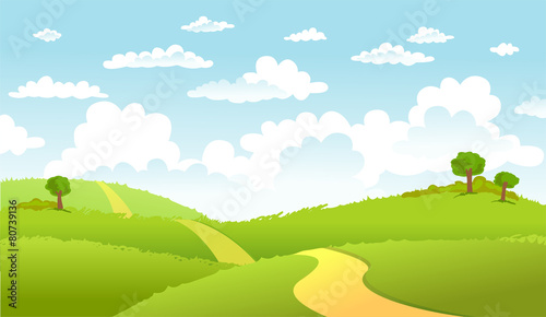 Green Landscape and the road. - 80739136