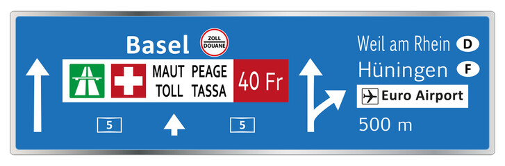 Autobahntafel Richtung Basel A5