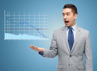 shocked businessman in suit looking to chart