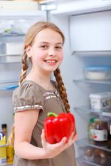 girl at the fridge