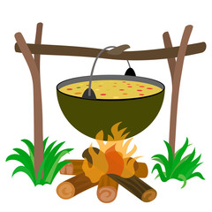 Kettle of Soup in Campfire