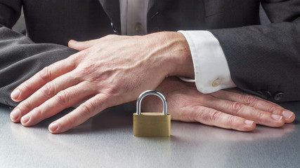 corporate security with padlock as symbol