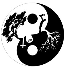 Silhouette of man and tree in Yin Yang symbol