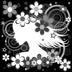 Abstract black and white backgrund with woman profile, flowers a
