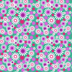 Seamless floral pattern on a green background