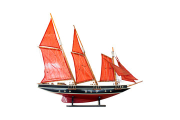 wood model barque, a type of sailing vessel, asia